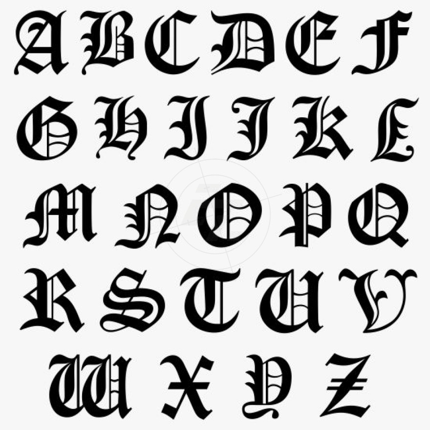 old english lettering capital letters initial sticker typeface 445