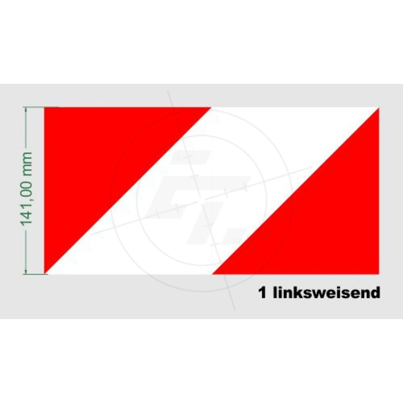 warnaufkleber rot weiss 141 mm reflexfolie mit wabenstruktur. Black Bedroom Furniture Sets. Home Design Ideas
