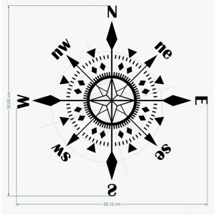 Sticker Compass With 16 Directions For Car Boat And Caravan