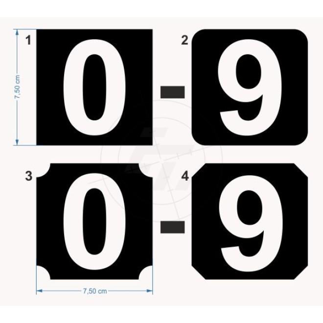 Aufkleber Zahlenziffern 10er Set Negativ