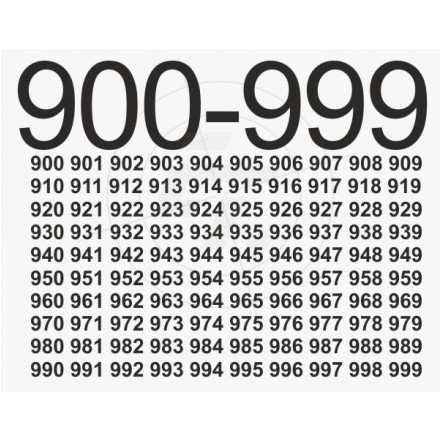 Numbers stickers number 900 999 set of 10